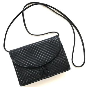 Vintage Quilted Black Leather Cross Body Bag
